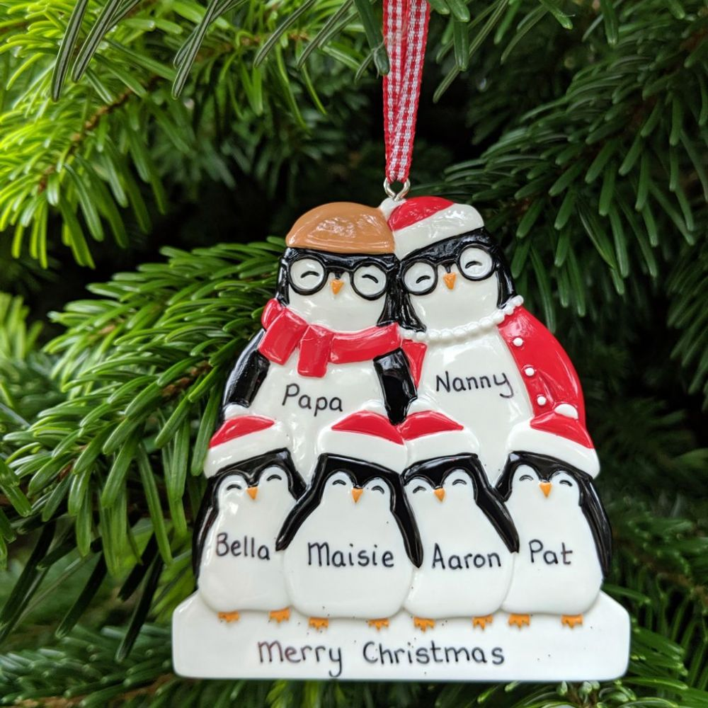 Personalised Penguin Family of 6 Dressed